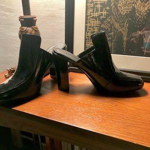 Patent leather (faux) black clog heels